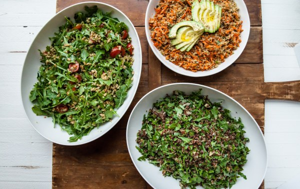 Red Quinoa Salad, Sesame Honey Quinoa, Farro and Arugula Salad Group Shot / Carrie Crow / Katie Workman / themom100.com