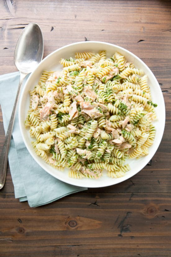 Pasta and Salmon Salad with Ramp Dressing / Photo by Kerri Brewer / Katie Workman / themom100.com