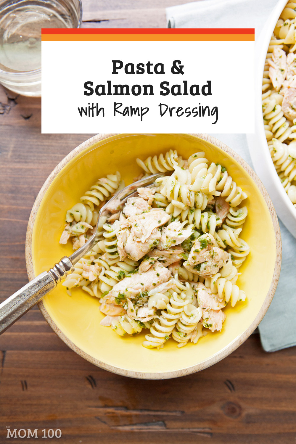 Pasta and Salmon Salad with Ramp Dressing is so pretty, and light and satisfying at the same time. It\'s the perfect springtime dish for a picnic, a buffet, or for a potluck.