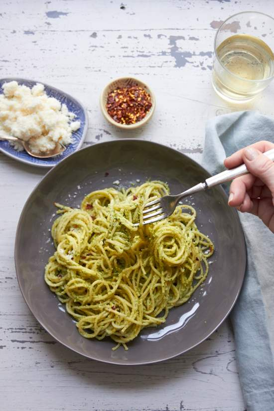 Pasta with Edamame, Mint and Basil Pesto / Mia / Katie Workman / themom100.com