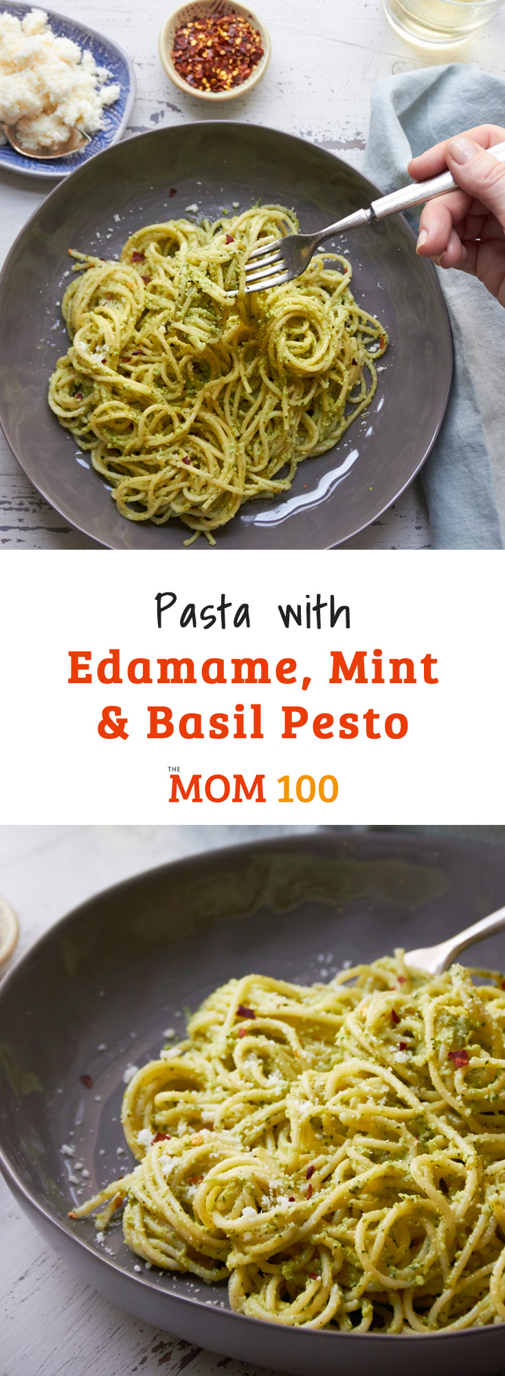 Pasta with Edamame, Mint and Basil Pesto. A simple vegetarian pasta tossed with a flavorful pesto made with fresh herbs and protein-packed edamame.