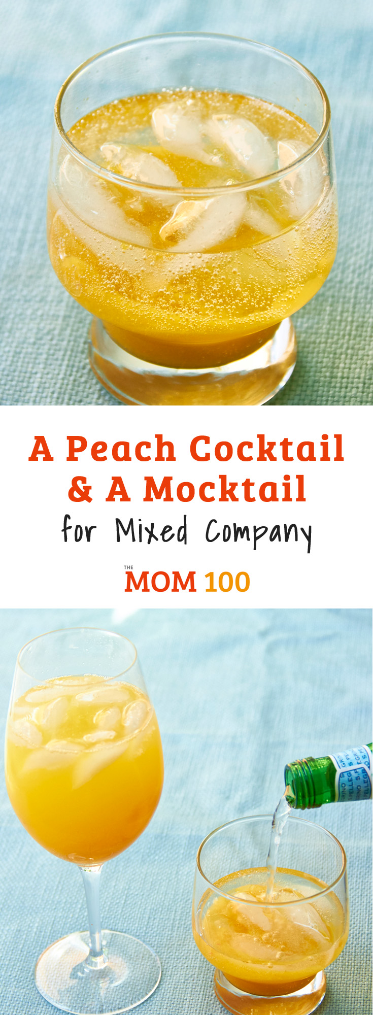 A refreshing Peach-Mango beverage, perfect for mixed company. Delicious with sparkling wine, or substitute with sparkling water to make it kid-friendly.