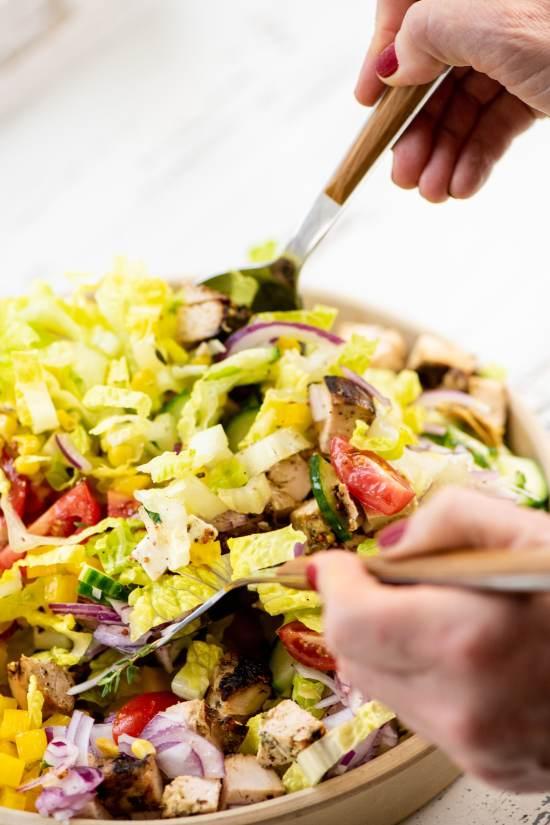 Chopped Salad with Lemon Thyme Dressing / Photo by Cheyenne Cohen / Katie Workman / themom100.com