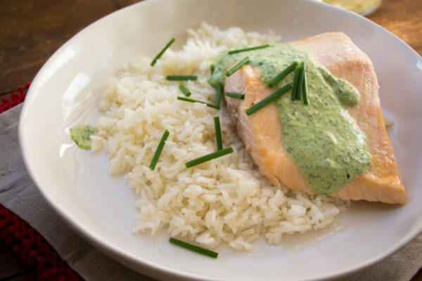 Poached Salmon with Cilantro Sauce / Mandy Maxwell / Katie Workman / themom100.com