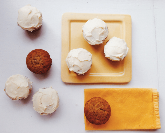 Banana Cupcakes with Cream Cheese Frosting from Katie Workman / themom100.com