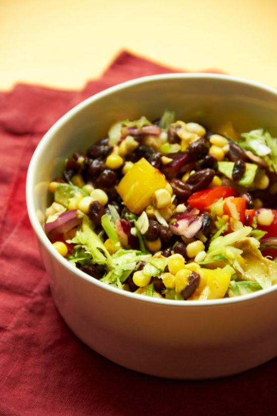 Southwest Black Bean and Corn Salad in a bowl
