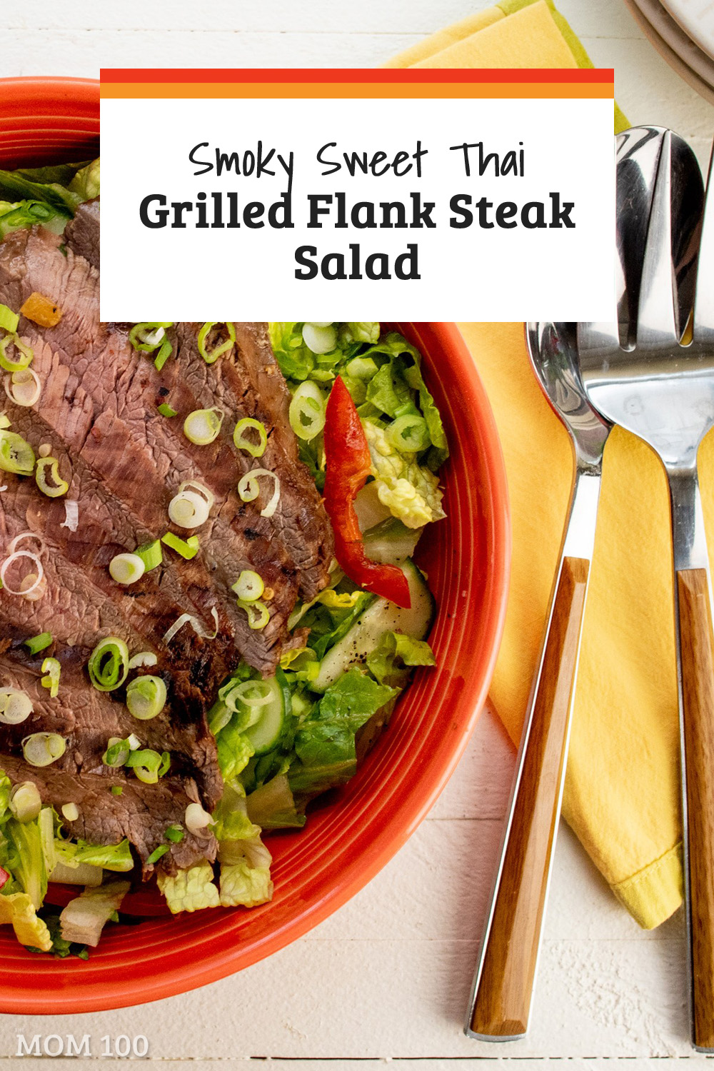 This Smoky Sweet Thai Grilled Flank Steak Salad is a beautiful dinner salad with flavors inspired by Thailand. A fresh new take on steak.