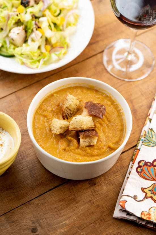 Spicy Roasted Root Vegetable Soup with Parmesan Croutons / Photo by Cheyenne Cohen / Katie Workman / themom100.com