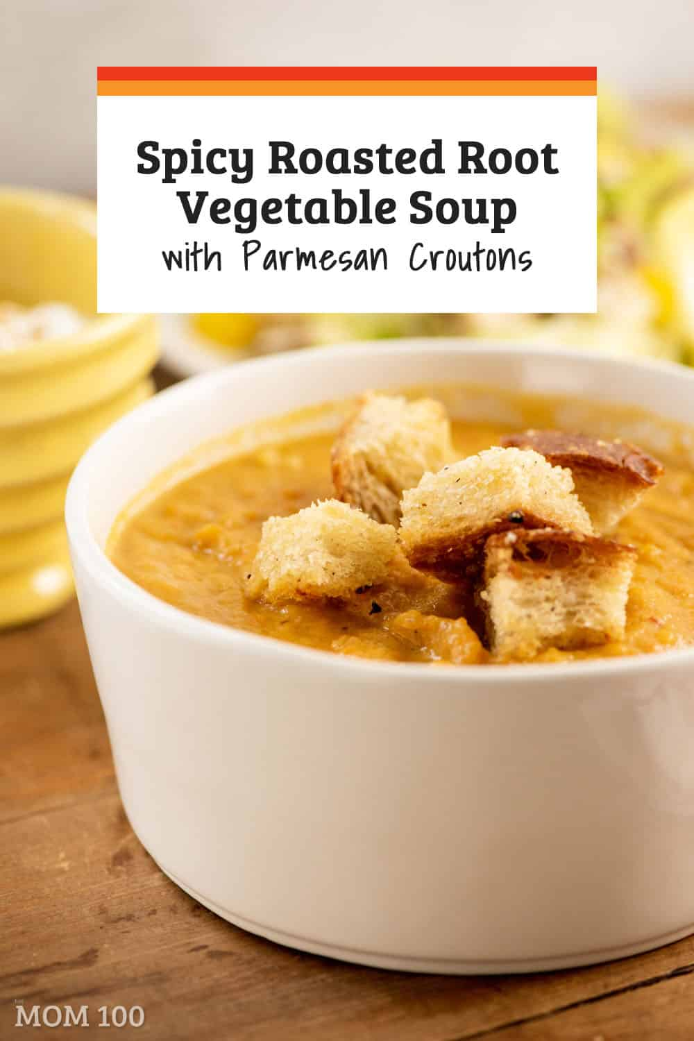 Spicy Roasted Root Vegetable Soup with Parmesan Croutons / Slightly spicy, and just a touch of sweet, roasted vegetables + broth became an instant soup. #soup #vegetarian