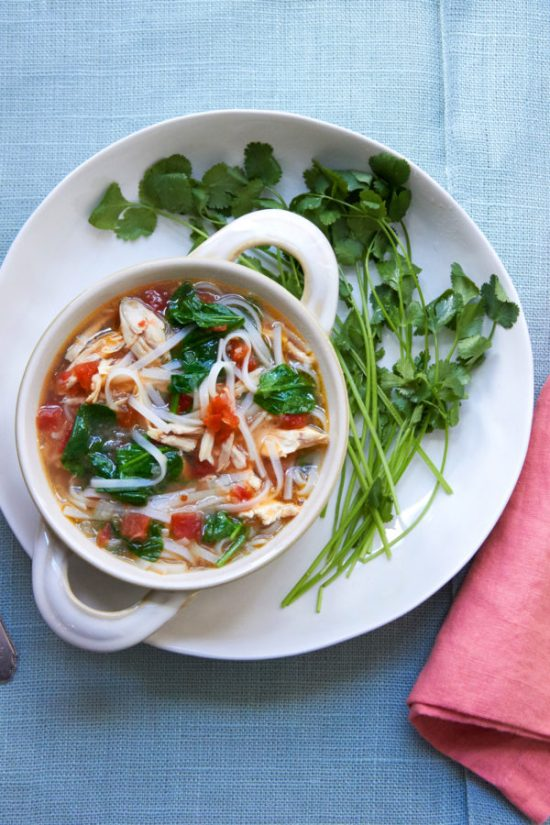 what do I do with leftover chicken/Spicy Thai Chicken and Rice Noodle Soup / Mia / Katie Workman / themom100.com