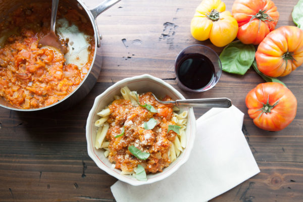 Pasta with Fresh Tomato Sauce / Photo by Kerri Brewer / Katie Workman / themom100.com