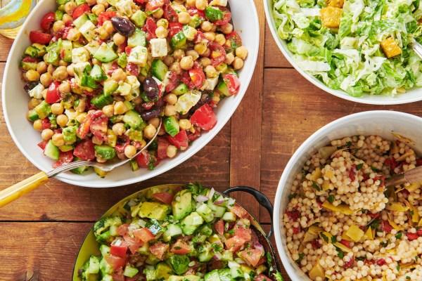 an assortment of salads