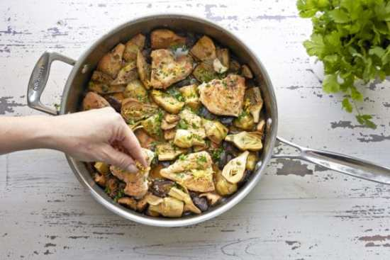 Braised Chicken, Mushrooms and Baby Artichokes/home cooking / Mia / Katie Workman / themom100.com