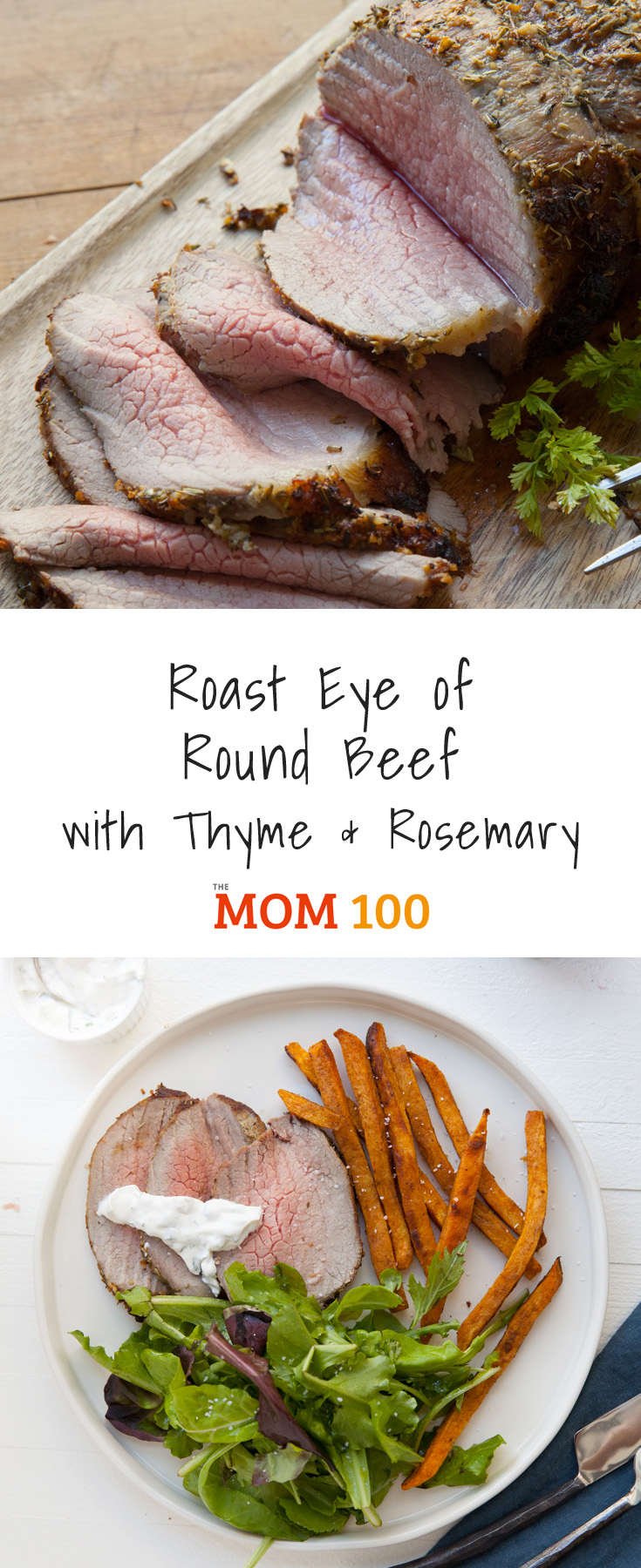 This incredibly simple Roast Eye of Round Beef recipe with thyme and rosemary has a terrific flavorful crust, and tender, pink, juicy meat inside.