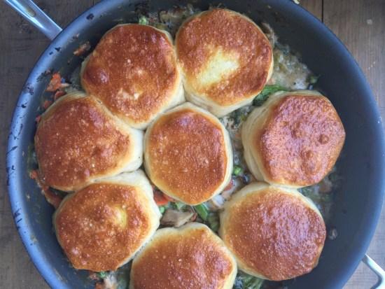 Salmon and Vegetable Biscuit Pot Pie Casserole / Katie Workman / themom100.com