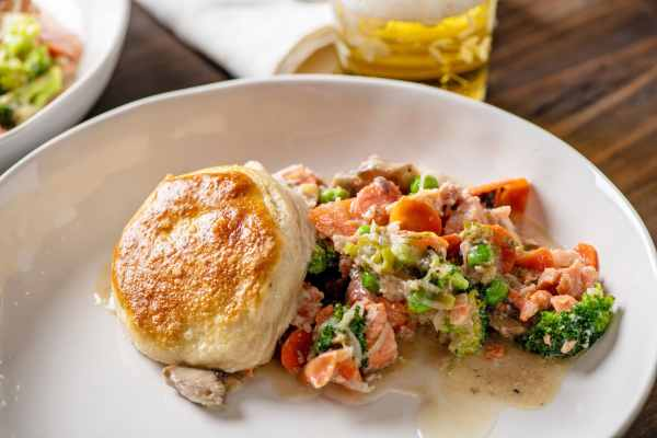 Salmon and Vegetable Biscuit Pot Pie Casserole