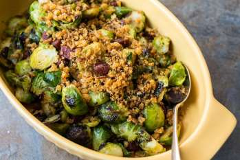 Pan Roasted Brussels Sprouts with Chorizo and Toasted Bread Crumbs