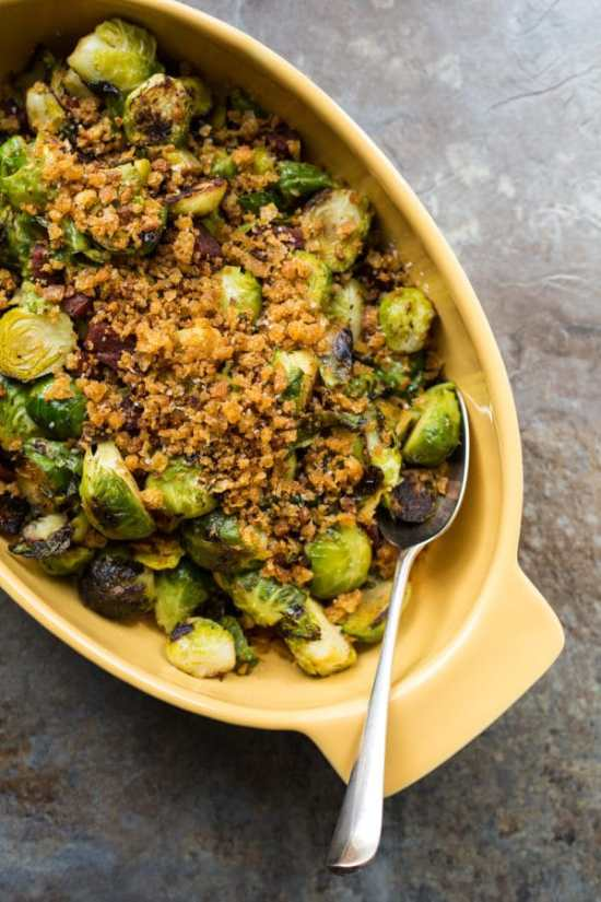 Pan Roasted Brussels Sprout with Chorizo and Toasted Bread Crumbs / Sarah Crowder / Katie Workman / themom100.com