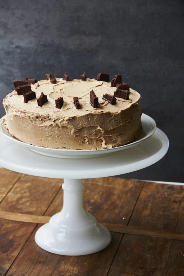 Rich Vanilla Cake with Chocolate Espresso Buttercream / Mia / Katie Workman / themom100.com
