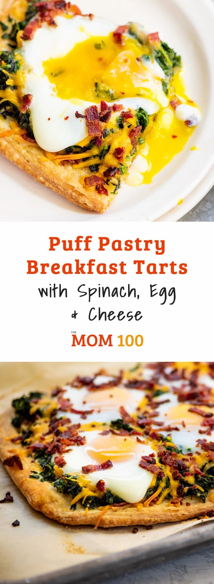 Puff Pastry Breakfast Tarts with Spinach, Egg and Cheese / These Puff Pastry Breakfast Tarts with Spinach, Egg and Cheese look super special and fancy.... but they are really easy to make! #breakfast #brunch