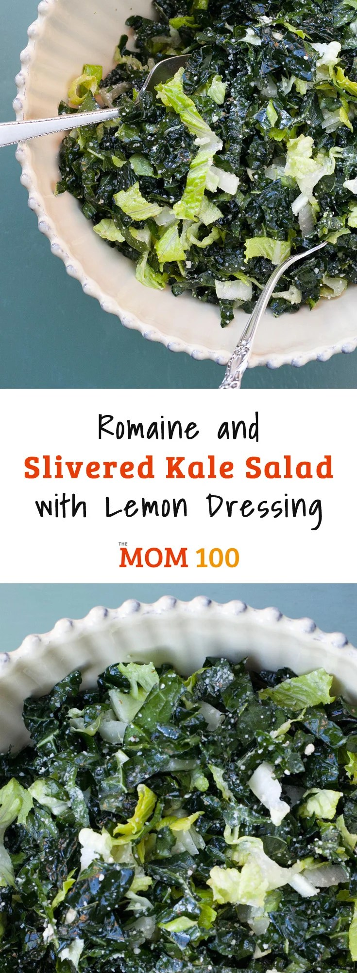 """When I first made this Romaine and Slivered Kale Salad with Lemon Dressing, I kind of held my breath while serving it up - my kids, along with most of the kids in the free world – have been conditioned to hear the word """"kale"""" and blanch."""