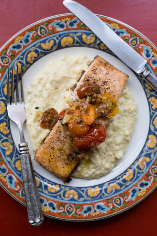 Salmon with Polenta and Warm Tomato Vinaigrette / Sarah Crowder / Katie Workman / themom100.com