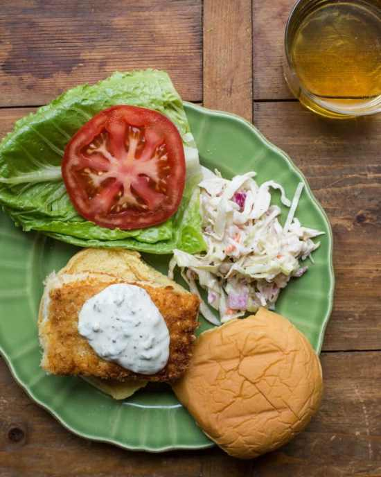 Just for the Halibut Fried Fish Sandwich with Lemon Basil Tartar Sauce / Sarah Crowder / Katie Workman / themom100.com