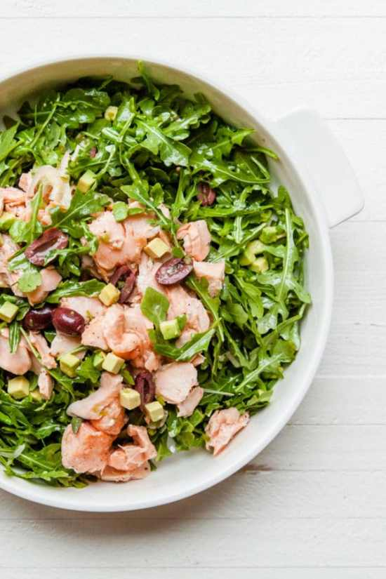 Salmon, Arugula, and Avocado Salad with Lemon Vinaigrette / Carrie Crow / Katie Workman / themom100.com