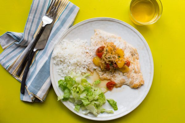 Chicken with Tomato and Leek Pan Sauce with Jasmine Rice / Sarah Crowder / Katie Workman / themom100.com