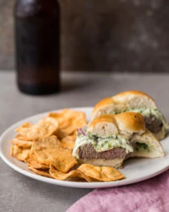 Grilled Cheeseburgers with Herb Sauce / Sarah Crowder / Katie Workman / themom100.com