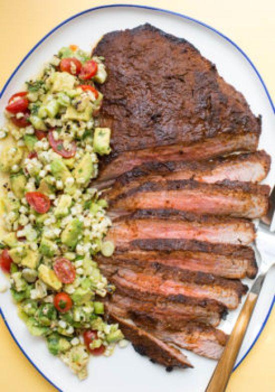 Chili Rubbed Flank Steak with Corn, Tomato and Avocado Salad / Sarah Crowder / Katie Workman / themom100.com