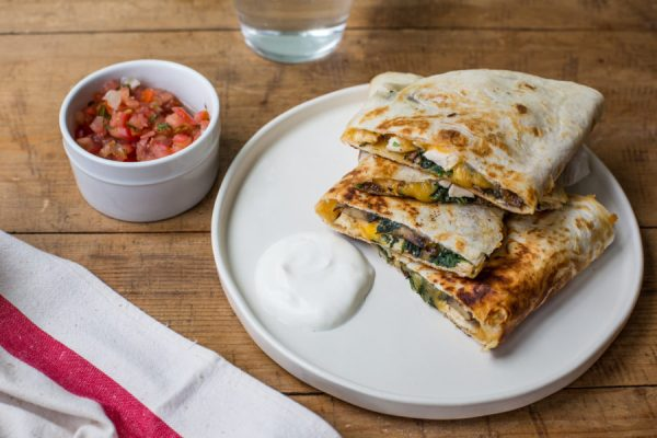 cheesy Spinach, Mushroom, and Chicken Quesadillas