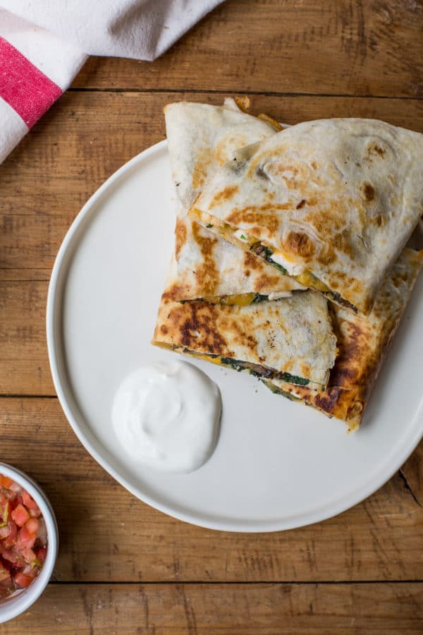 great back to school dinners/ Spinach, Mushroom, and Chicken Quesadillas / Sarah Crowder / Katie Workman / themom100.com