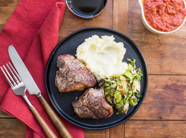 Loin Lamb Chops with Roasted Tomato and Garlic Sauce / Sarah Crowder / Katie Workman / themom100.com