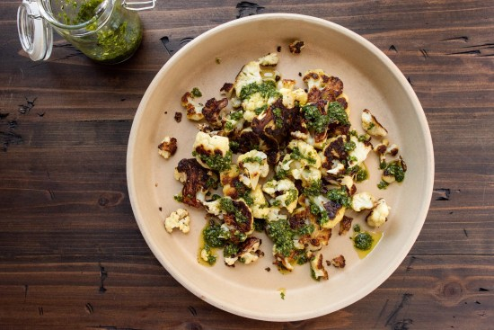 Roasted Cauliflower with Chimichurri Sauce / Photo by Cheyenne Cohen / Katie Workman / themom100.com
