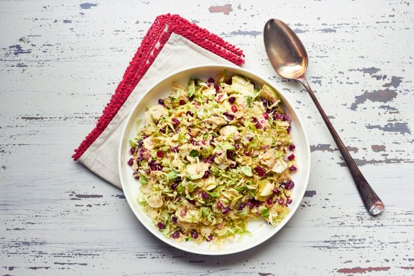 Brussels Sprouts, Apple, and Pomegranate Slaw Salad