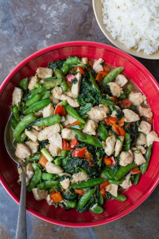 Chicken and Spinach Stir-Fry with Ginger and Oyster Sauce / Sarah Crowder / Katie Workman / themom100.com