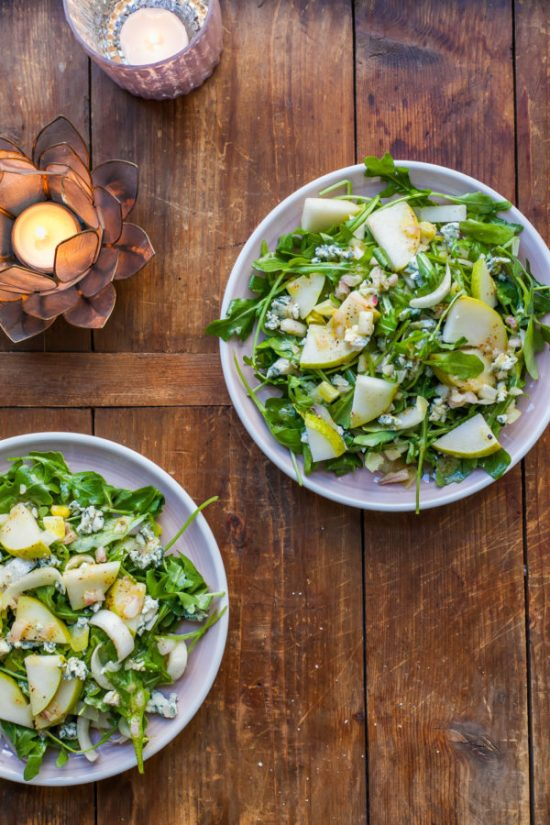 Arugula and Endive Salad with Pears and Blue Cheese / Carrie Crow / Katie Workman / themom100.com