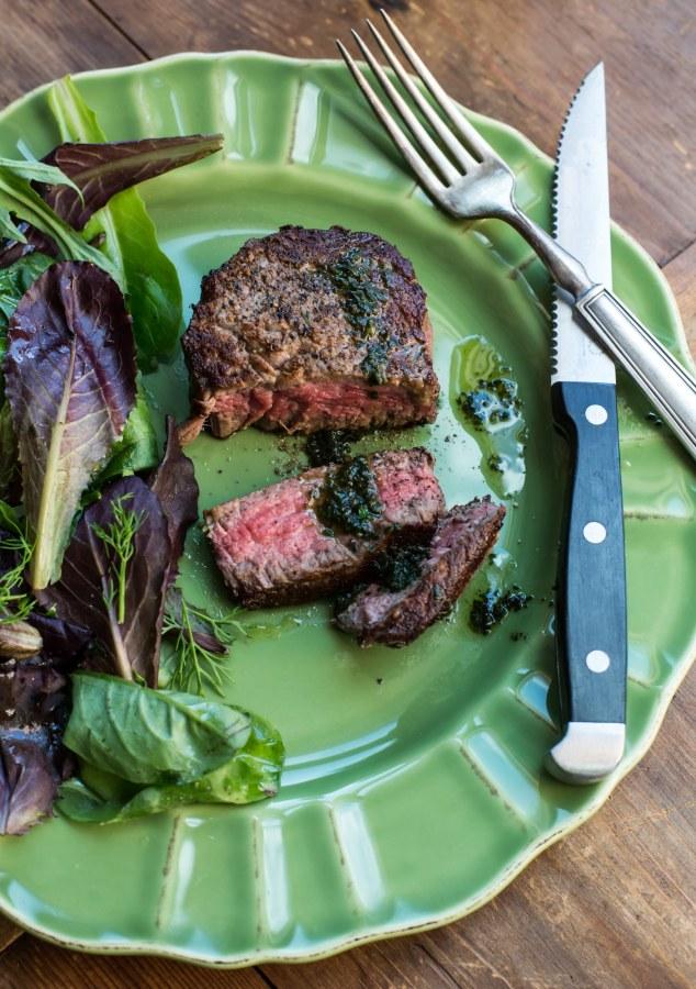 Filet Mignon with Pistou and Green Salad / Sarah Crowder / Katie Workman / themom100.com