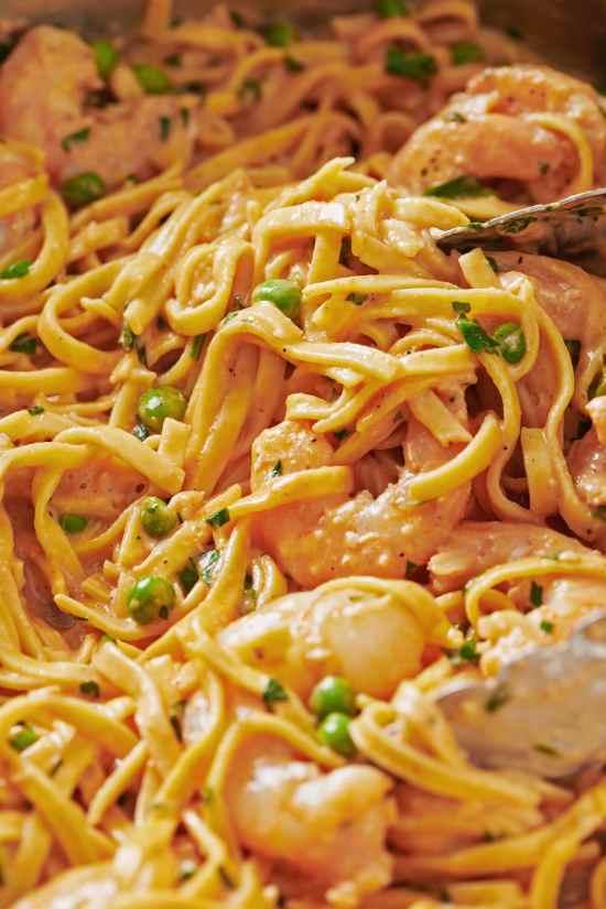 Close up of Fresh Linguine with Shrimp and Peas