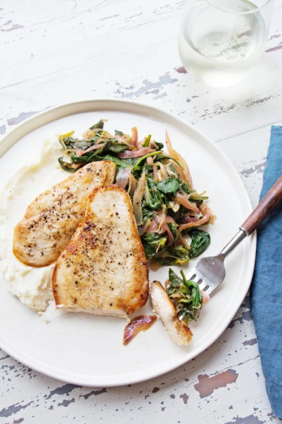 Sautéed Chicken with Spinach and Red Onions / Mandy Maxwell / Katie Workman / themom100.com
