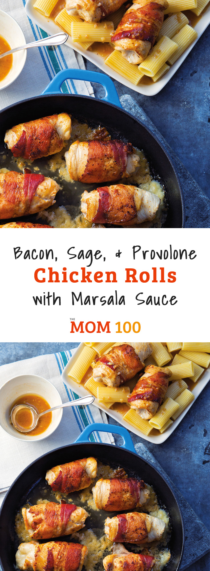 Bacon, Sage, and Provolone Chicken Rolls with Marsala Sauce is one of those highly crowd pleasing dinners that looks pretty special. #chicken #dinner