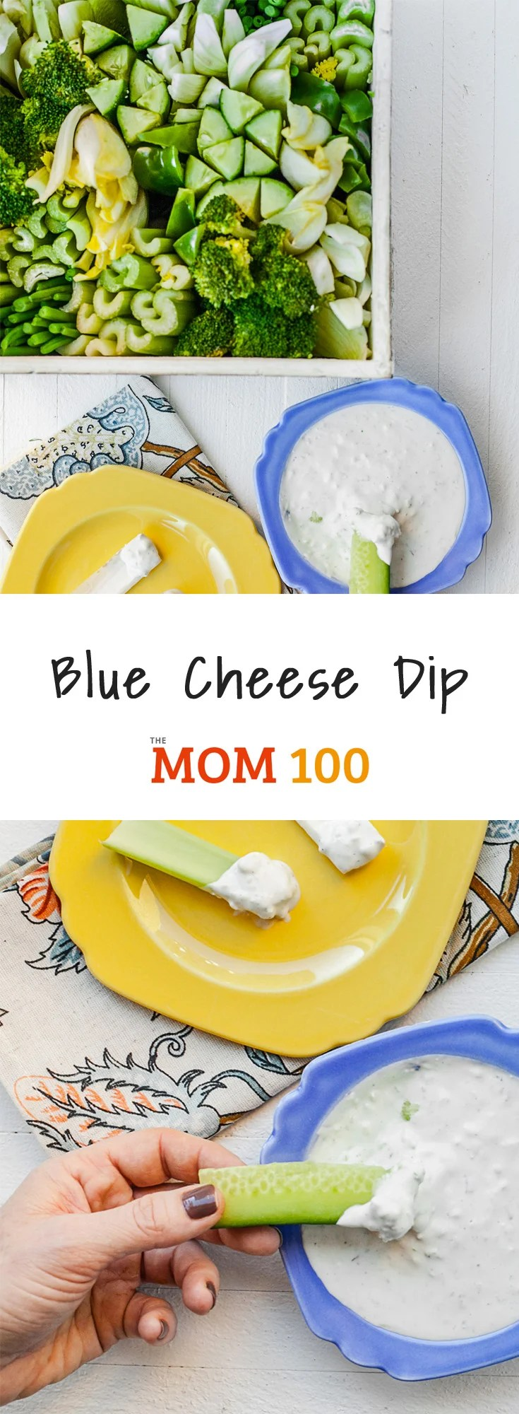 Blue Cheese Dip with All-Green Crudite Basket