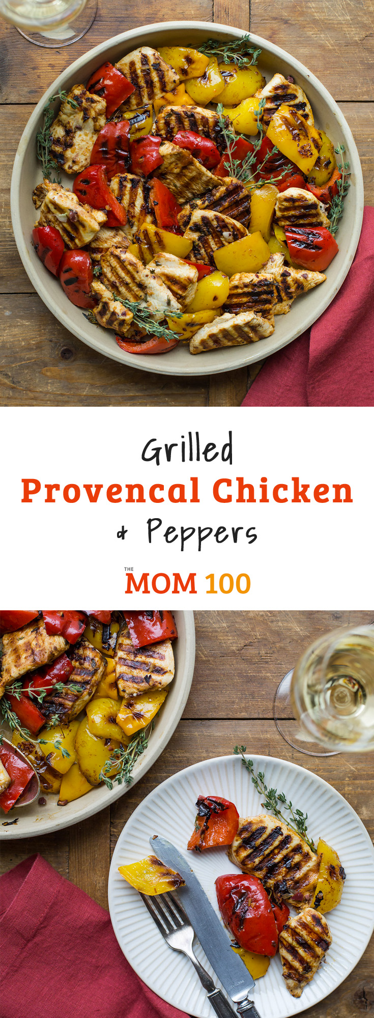 Grilled Provencal Chicken and Peppers. Colorful and gorgeous and flavorful, and very healthful to boot. A lovely way to connect with your grill.
