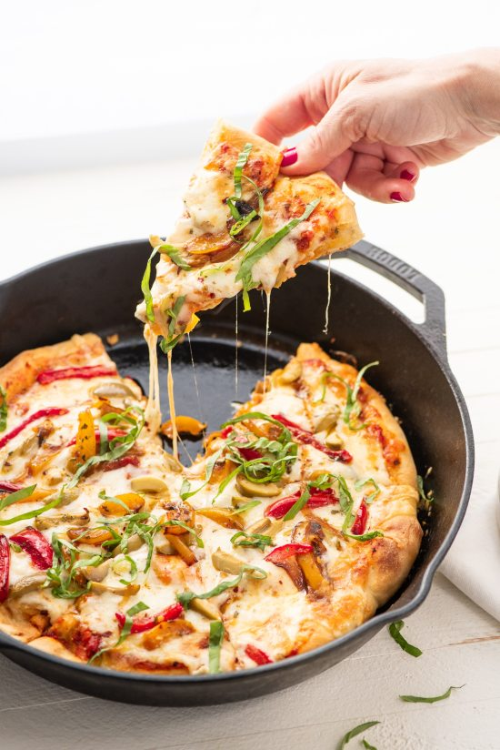 Fontina and Havarti Cast Iron Pan Pizza / Cheyenne Cohen / Katie Workman / themom100.com