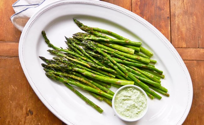 Asparagus With Herb Dipping Sauce Recipe The Mom 100