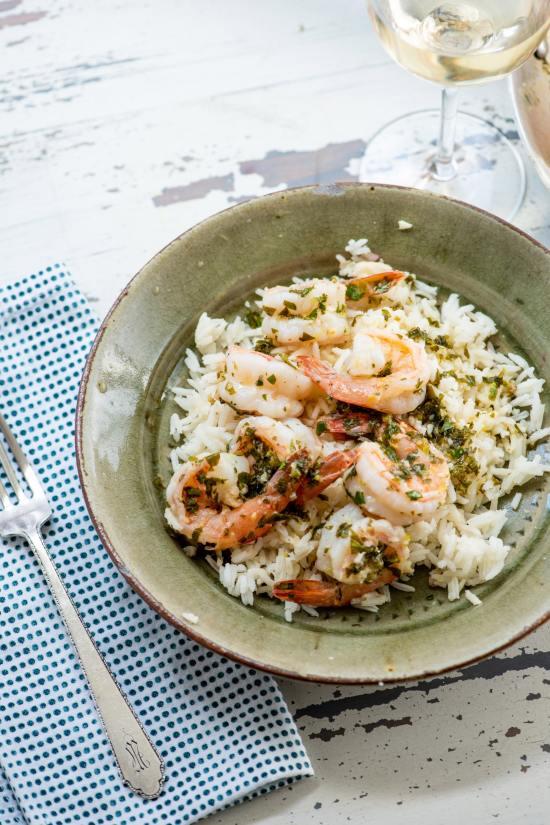 Spicy Lemon Shrimp Over Rice / Katie Workman / themom100.com / Photo by Cheyenne Cohen