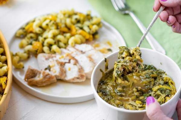 Chicken with White Wine, Leek, Spinach and Arugula Pan Sauce / Katie Workman / themom100.com / Photo by Cheyenne Cohen