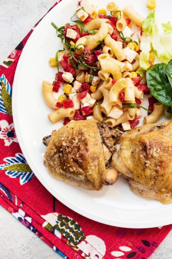 Healthy Chicken and Mushrooms Recipe / Katie Workman / themom100.com / Photo by Cheyenne Cohen