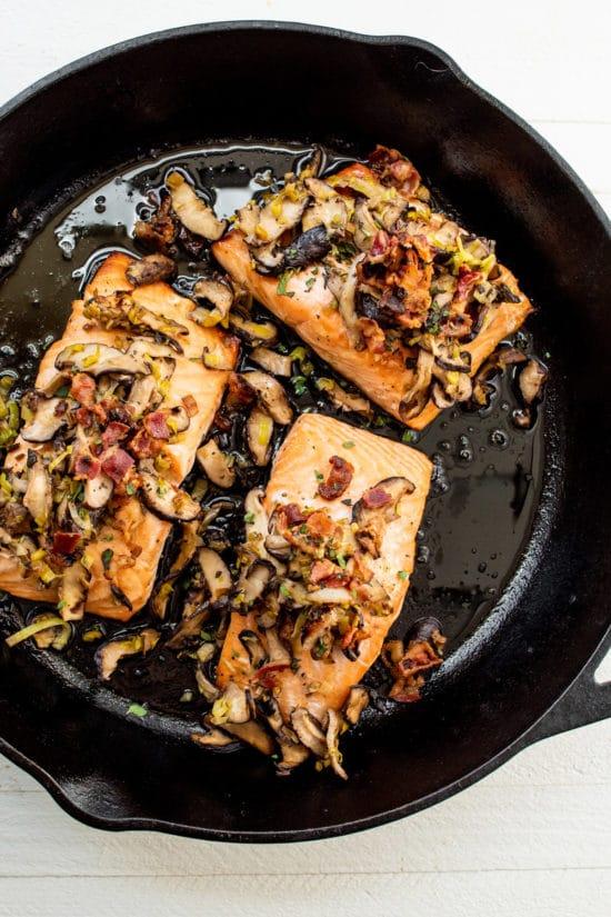 Salmon and Leeks Recipe / Katie Workman / themom100.com / Photo by Cheyenne Cohen